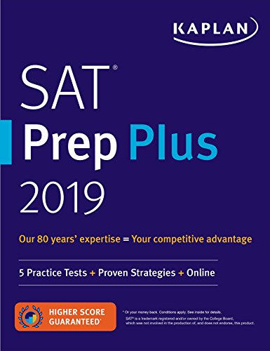 SAT Prep Plus 2019: 5 Practice Tests + Proven Strategies + Online (Kaplan Test Prep) cover