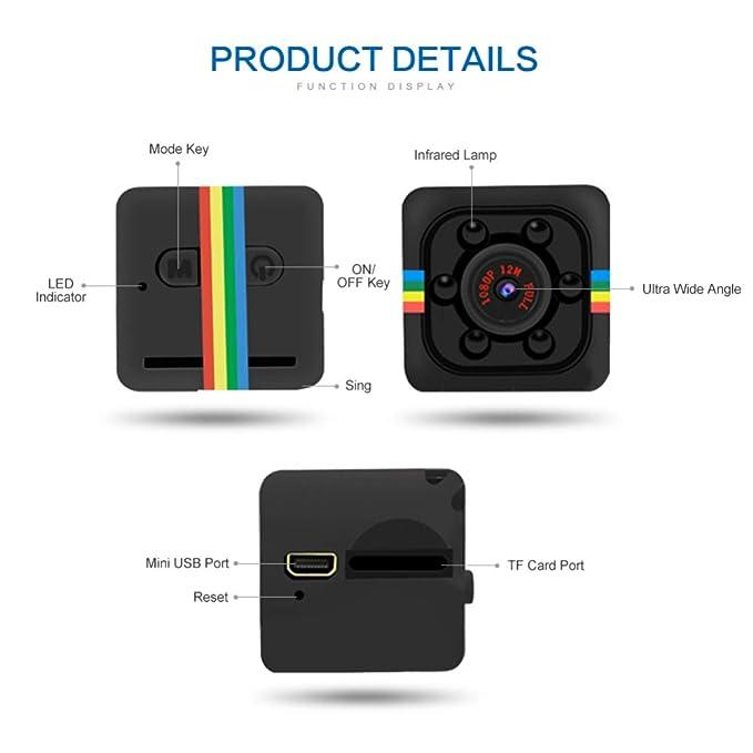 MENGZHEN 1PC Mini cámara Oculta Full HD 720P portátil pequeña con visión Nocturna y detección de Movimiento para Interiores y Exteriores: Amazon.es: ...