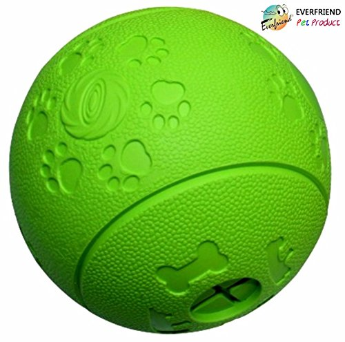 510Z0DeR08L - EVERFRIEND Interactive Soft Rubber Dog Toy - Ball for Dogs, Puppies - Virtually Indestructible Dog Ball - Treat (Food) Dispenser Dog Toys - Teeth Cleaning, IQ Training, Playing (Green)