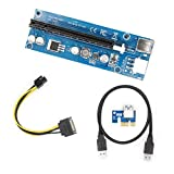 YIKESHU PCIe PCI-E 16x 8x 4x 1x Powered Riser Adapter Card w/ 60cm USB 3.0 Extension Cable & 6-Pin PCI-E to SATA Power Cable - GPU Riser Adapter - Ethereum Mining ETH(1pcs)