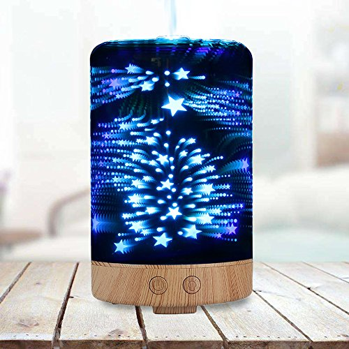 Polennon Glass Humidifier 100Ml Aromatherapy Essential Oil Diffuser Electric With 7 Color 3D Changing Starry Led Night Light