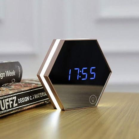 GX&XD Multifunción Espejo Reloj,Creativo Reloj Digital con Sonidos y luz led Simple
