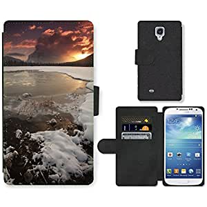PU Cuir Flip Etui Portefeuille Coque Case Cover véritable Leather Housse Couvrir Couverture Fermeture Magnetique Silicone Support Carte Slots Protection Shell // F00002161 al aire libre mar serena orilla del // Samsung Galaxy S4 S IV SIV i9500