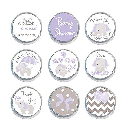 Mini Candy Stickers Gray Elephants Set of 324 (Purple)