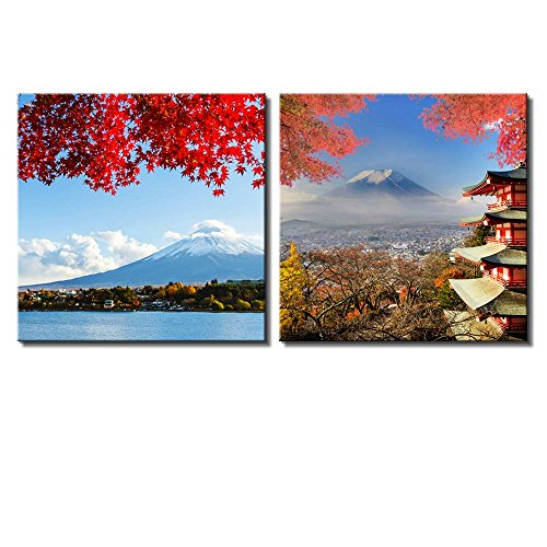 Two Piece Mount Fuji Across a Lake Being Framed by a Red Tree with a Shrine by Its Side on 2 Panels