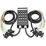 Seismic Audio - New 16 Channel XLR Send Splitter Snake Cable with Box - Two Trunks 15' Fantails Each - Pro Audio Stage, Studio, Road Split Y Extension Cables