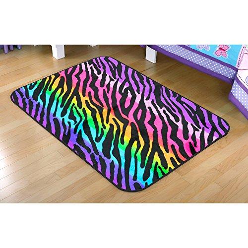 - Your Zone Rainbow Zebra Faux Mink Rectangular Rug Multi-Color 30 x 46