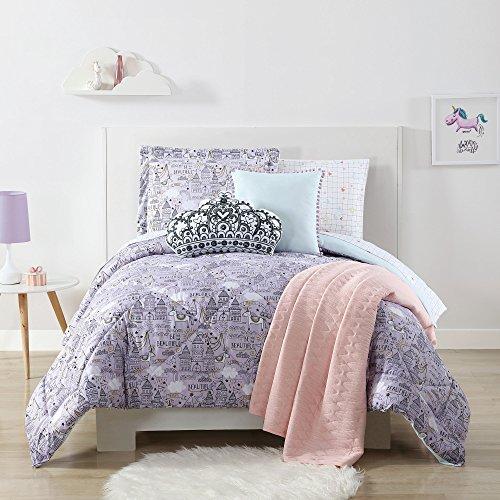 Hearts Sketch (Ln 2 Piece Kids Purple Gold Unicorn Princess Theme Comforter Twin XL Set, Beautiful King Castles Sketches, Charming Stars Print, Heart Polka Dots Reversible Bedding, Vivid Bright Colors, Microfiber)