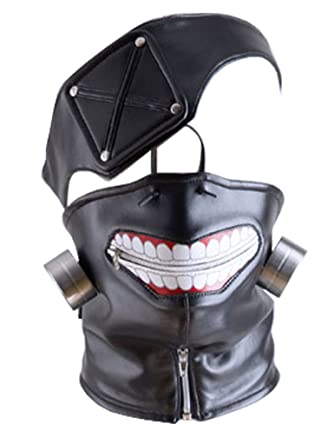 Amazon.com: DAZCOS Adjustable Kaneki Ken Cosplay Halloween Mask with Eye Patch (Black): Clothing