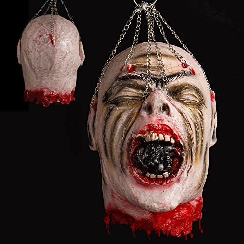 Hootech Halloween Decorations Severed Head Cut off Corpse Head Props Hanging Bloody Gory Latex Zombie Party (Severed Head Halloween Costume)