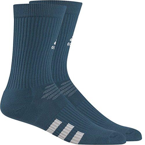 Mesh Stripe Golf (Adidas 2017 Mesh Ventilation 3-Stripes Mens Golf Crew Sports Socks - Pack of 2 Mineral Blue 6.5-10 UK)