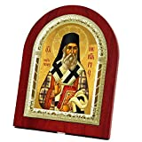 FengMicon Saint Nektarius Wooden Back with Metal Trim Frame Christian Icon Catholic Gift