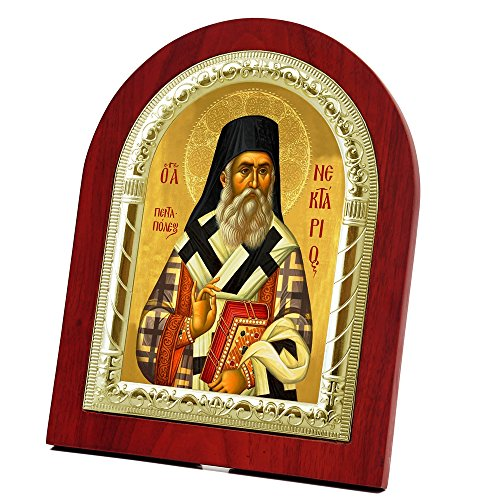 FengMicon Saint Nektarius Wooden Back with Metal Trim Frame Christian Icon Catholic Gift by FENGMICON