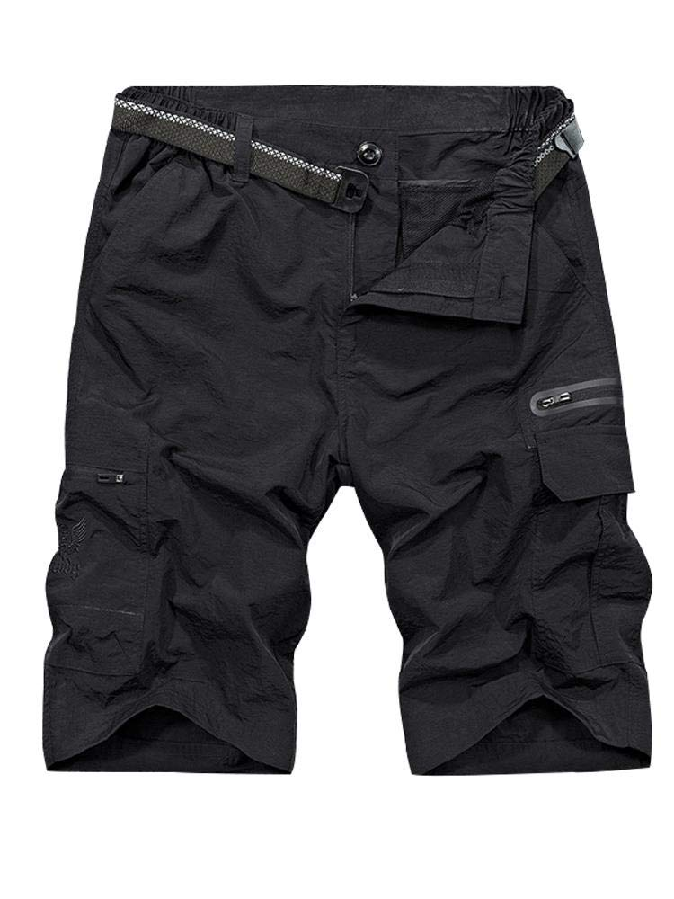 Men's Outdoor Tactical Shorts Lightweight Expandable Waist Cargo Shorts with Multi Pockets Quick Dry Water Resistant #6222, Black, 40 by Toomett
