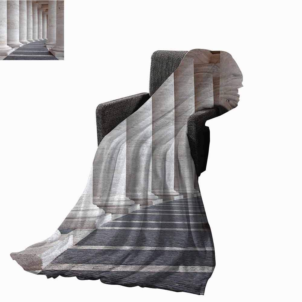 Pillar Beach Blanket,Ancient Theme Roman Columns Stone Pillars Old Architecture Theme Digital Image Cozy and Durable Fabric-Machine Washable (62''x60'')-Dust and Grey