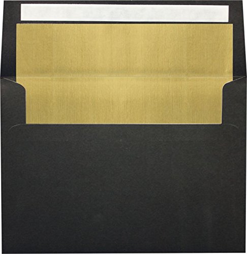 A7 Invitation Envelopes w/Peel & Press (5 1/4'' x 7 1/4'') - 80lb. Black w/Gold LUX Lining (50 Qty.) | Perfect for 5 x 7 Holiday Greeting Cards, Invitations and Photots | FLBK4880-04-50 by Envelopes.com