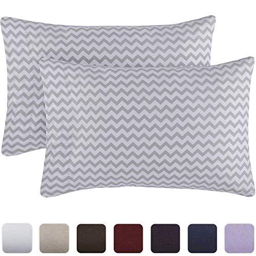 Mellanni Luxury Pillowcase Set - Brushed Microfiber 1800 Bedding - Wrinkle, Fade, Stain Resistant - Hypoallergenic (Set of 2 Standard Size, Chevron Gray)