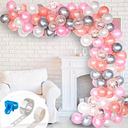 Whaline Balloon Arch & Garland Kit, Rose Gold Pink White & Confetti and Silver Metal Latex Balloons Set with 16ft Balloon Strip Tape, 1pcs Tying Tool and 100 Dot Glue for Wedding Birthday Party Decor -