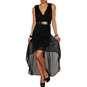 made2envy Asymmetric Chiffon Dress With Golden Spikes Decoration