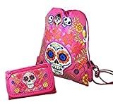 Disney Licensed COCO Sling Drawstring backpack Tote Bag w/ Small Wallet (pink) Review