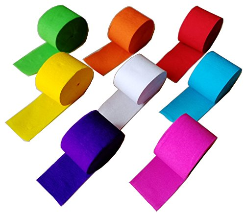 - 91.8 Feet Party Streamer Paper Decorations Crepe Paper for Birthday, Wedding, Concert and Various Festivals (8 Rolls)
