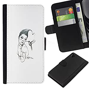 YiPhone /// Tirón de la caja Cartera de cuero con ranuras para tarjetas - Pink & Bird - Sony Xperia Z2 D6502