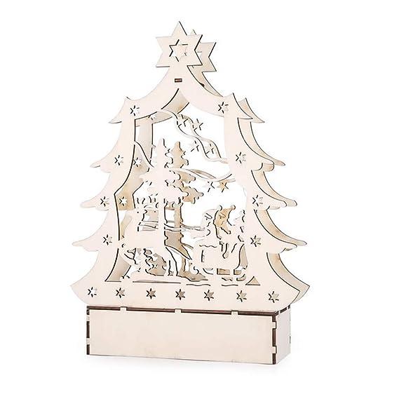 Axiba - Adorno de Navidad con Luces LED, diseño de Ciervo Luminoso, de Madera, para decoración de la casa o la Ventana, decoración de Fiesta: Amazon.es: ...