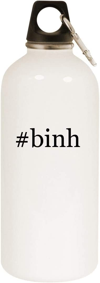 #binh - 20oz Hashtag Stainless Steel White Water Bottle with Carabiner, White