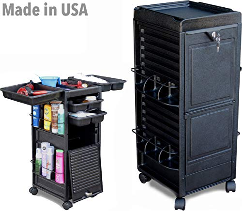 N20-P FF Salon Roll-about Rolling Trolley Utility Cart Black Locking Made in USA by Dina Meri