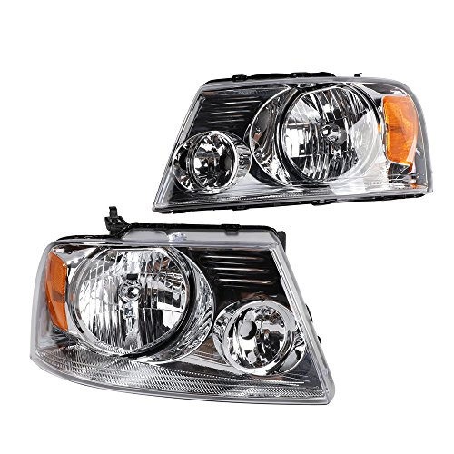 2PC Driver & Passenger Headlights Headlamps Set Replacement for 2004 2005 2006 2007 2008 Ford F-150 -