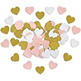 Pink White and Glitter Gold Paper Heart Confetti for Birthday Wedding Baby Shower Party Reception Table Decoration 300 PCS