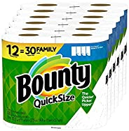 Bounty Quick-Size Paper Towels, 12 Family Rolls = 30 Regular Rolls