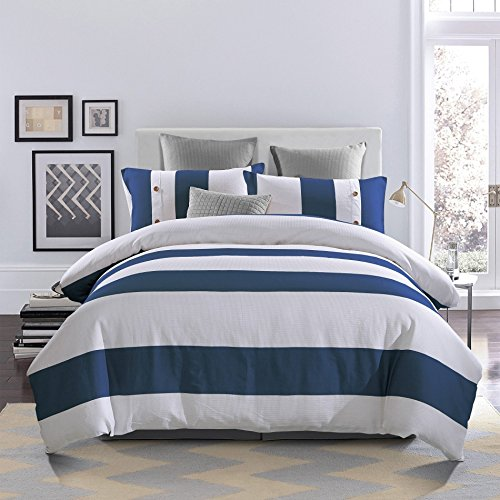 Cheap  3 Piece White Navy Blue Rugby Stripes Duver Cover Full Queen Set,..