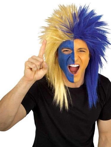 Sports Wig (Rubie's Costume Blue and Gold Sports Fan Wig, Blue/Gold, One Size)