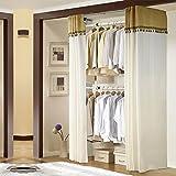 Asunflower Adjustable Clothing Racks, 2-Tier Steel Pipe Garment Hanger Plus 59'' Wardrobe Curtain