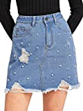 Verdusa Women's Casual Distressed Fray Hem A-Line Denim Short Skirt Blue-2 L
