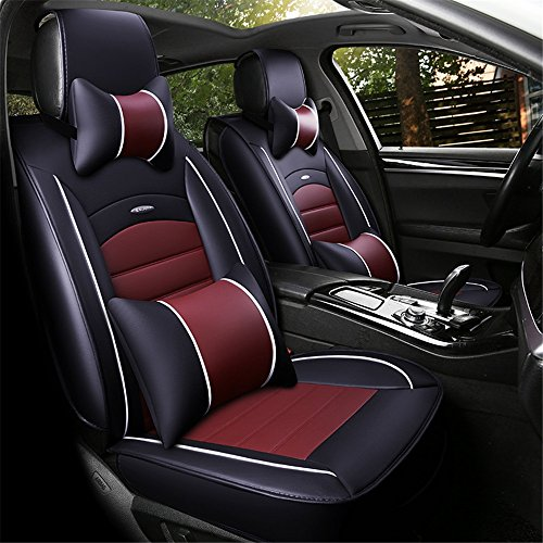 XZW AN All-inclusive leather All-inclusive Car Seats All Seasons Business Seats Five GM Seats Four season universal pad (Color : Red):