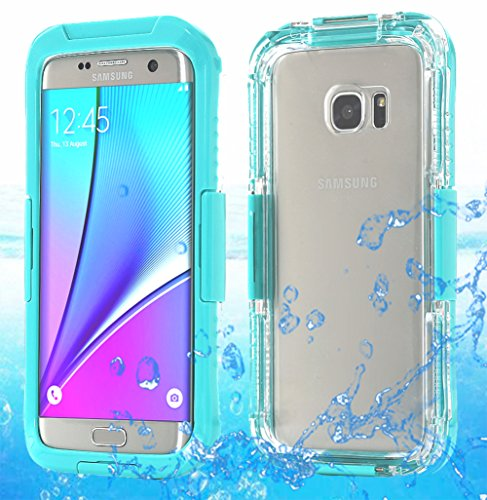 Galaxy S7 Edge Waterproof Case, AICase Armor Dust Proof Shockproof Snow Proof Case Crystal Clear Full Body Protective Cover for Samsung Galaxy S7 Edge (Mint Blue)