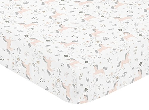 Toile Crib Floral (Pink, Grey and Gold Baby or Toddler Fitted Crib Sheet for Unicorn Collection by Sweet Jojo Designs)