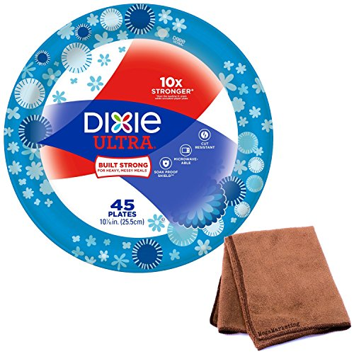 Dixie Ultra Disposable Paper Plates, 10 1/16 Inch, 45 Count, 1-Pack with Cleaning Cloth
