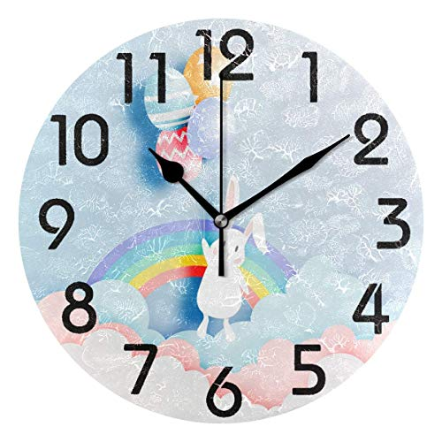 Dozili Cute Bunny Flying with Colors Eggs Paper Art Round Wall Clock Arabic Numerals Design Non Ticking Wall Clock Large for Bedrooms,Living Room,Bathroom