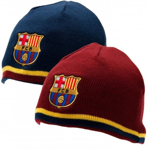 Maroon Beanie Reversible Knit (FC Barcelona Reversible Knitted Hat - Barca Beanie - Official Barcelona Product - One Size Fits Most - 100% Acrylic - Reversible Hat, One Side Blue, One Side Maroon - Both Sides Have FCB Team Crest)