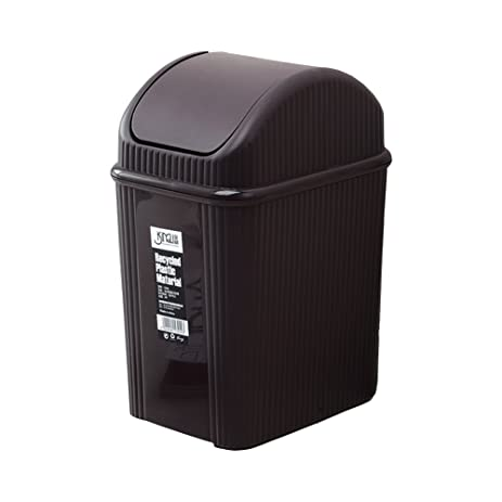 Hflove Table Top Mini Trash Can Plastic Desktop Trash Bin Swing Lid (Brown)