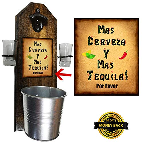 Deluxe Mas Cerveza Y Mas Tequila Shot Glass Holder with 2 Shot Glasses, Bottle Opener and Cap Catcher - Handcrafted by a Vet - Wall mounted, Solid Pine, Rustic Bottle Opener and Galvanized Bucket
