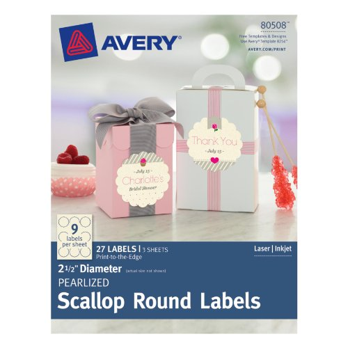 Avery Pearlized Scallop Round Labels, 2.5-Inch Diameter, Pack of 27 - Scallop Oval