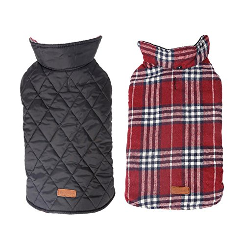 NACOCO Dog Winter Coat Pet Plaid Jacket Waterproof Grid Warm Costumes for Large Dogs (XXXL, Red) -