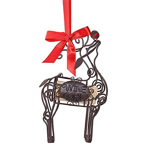 (Epic 02-144 Wire Design Reindeer Christmas Ornament with Wine Cork)