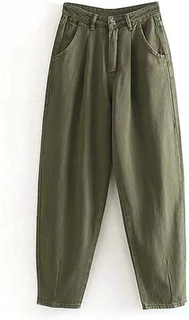 DERFX Versátil Las Mujeres Streetwear Plisadas Mom Jeans ...