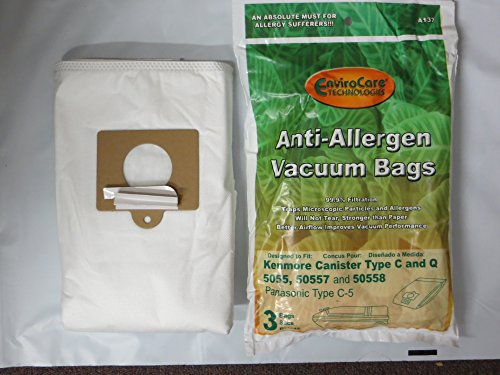 EnviroCare Replacement Anti-Allergen Vacuum Bags for Kenmore Canister Type C or Q 50555, 50558, 50557 and Panasonic Type C-5 15 ()