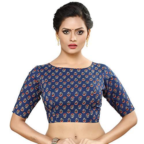 MADHU FASHION Womens Pure Cotton Floral Print Readymade Saree Blouse